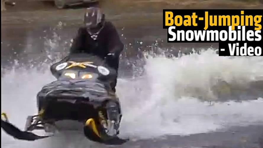 Boat-Jumping Snowmobiles - Video