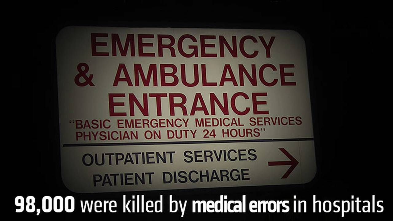 98,000 were killed by medical errors in hospitals