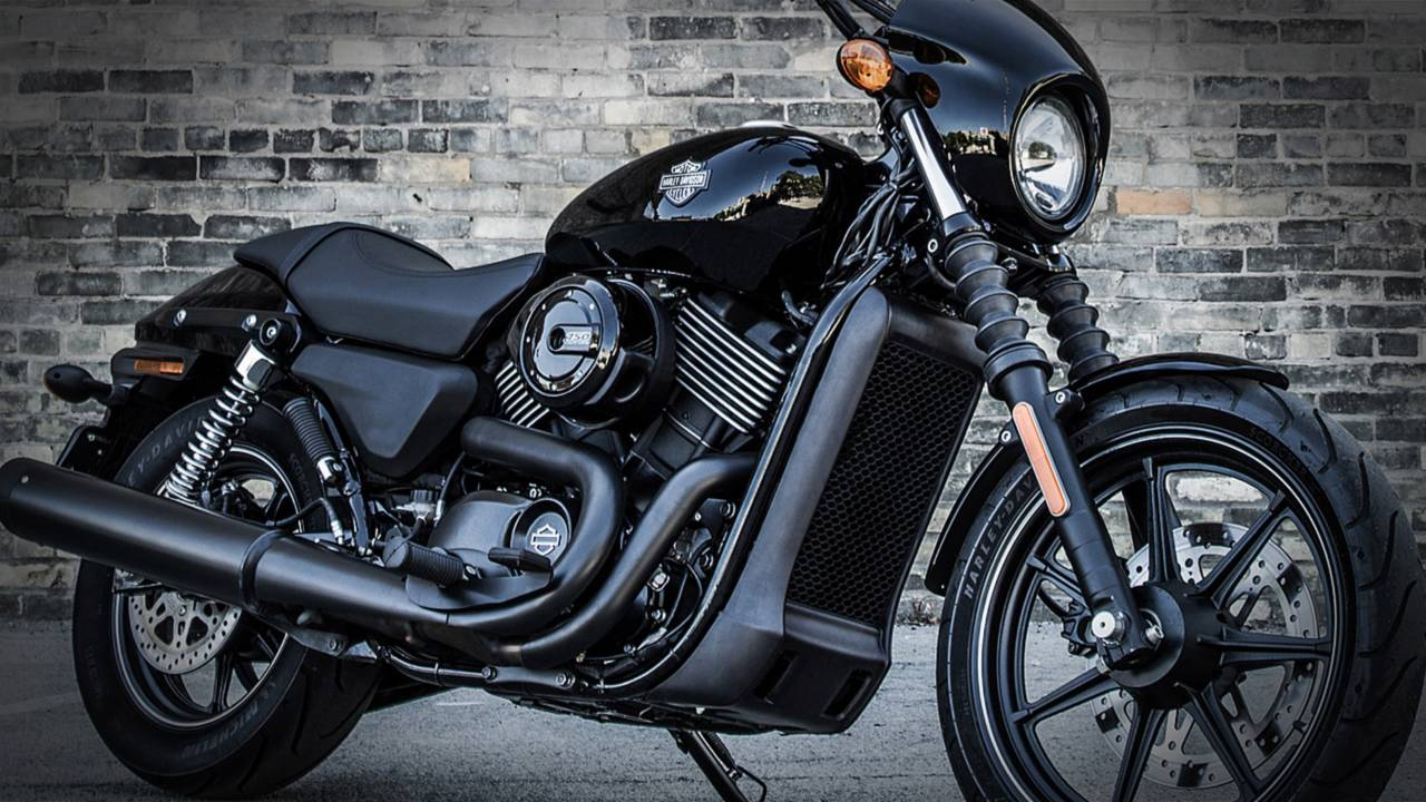 Black-on-black-on-black-on-black may look good in person, but man does it make the 2014 Harley-Davidson Street 750 hard to see in photos