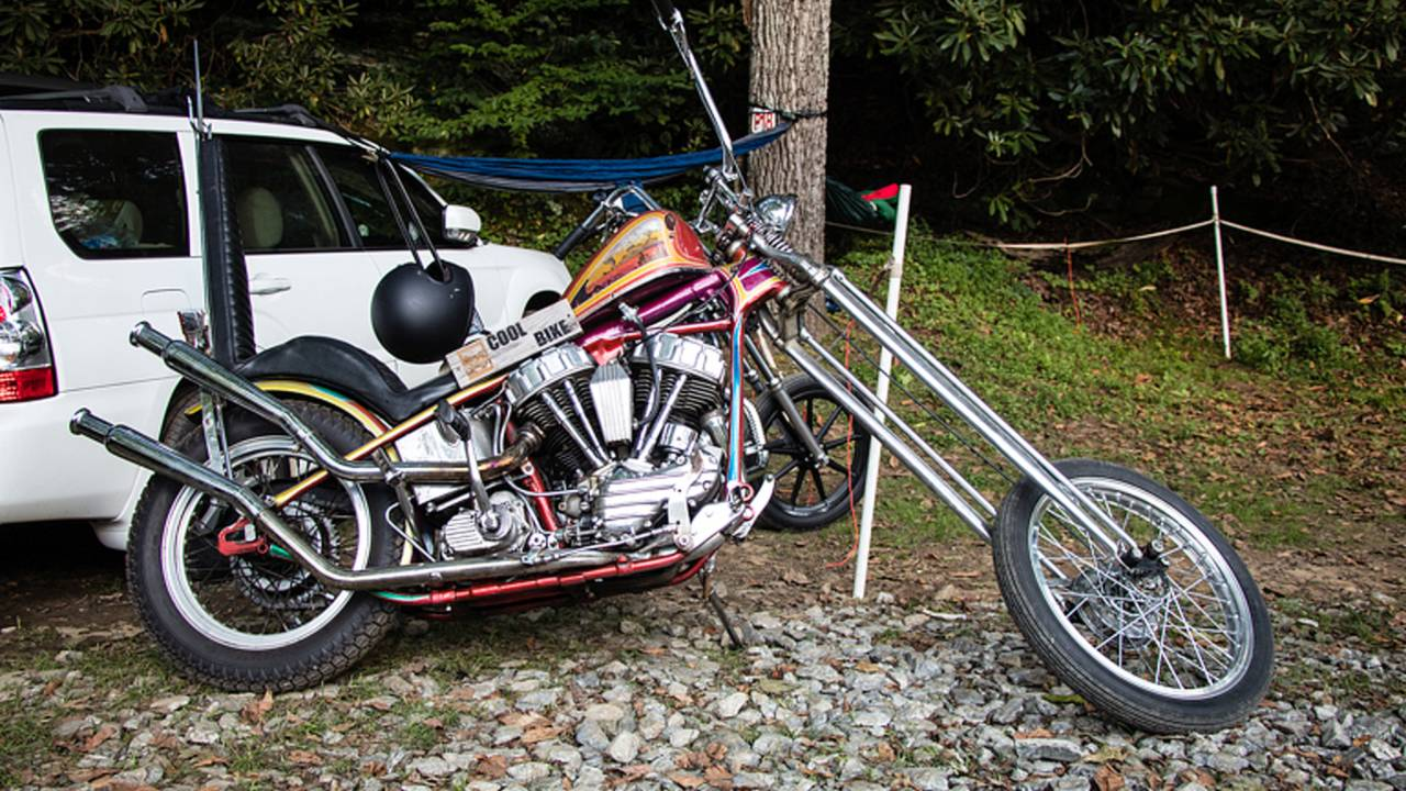 <em>A survivor chopper from the 70s. Great to see bikes like this still on the road.</em>