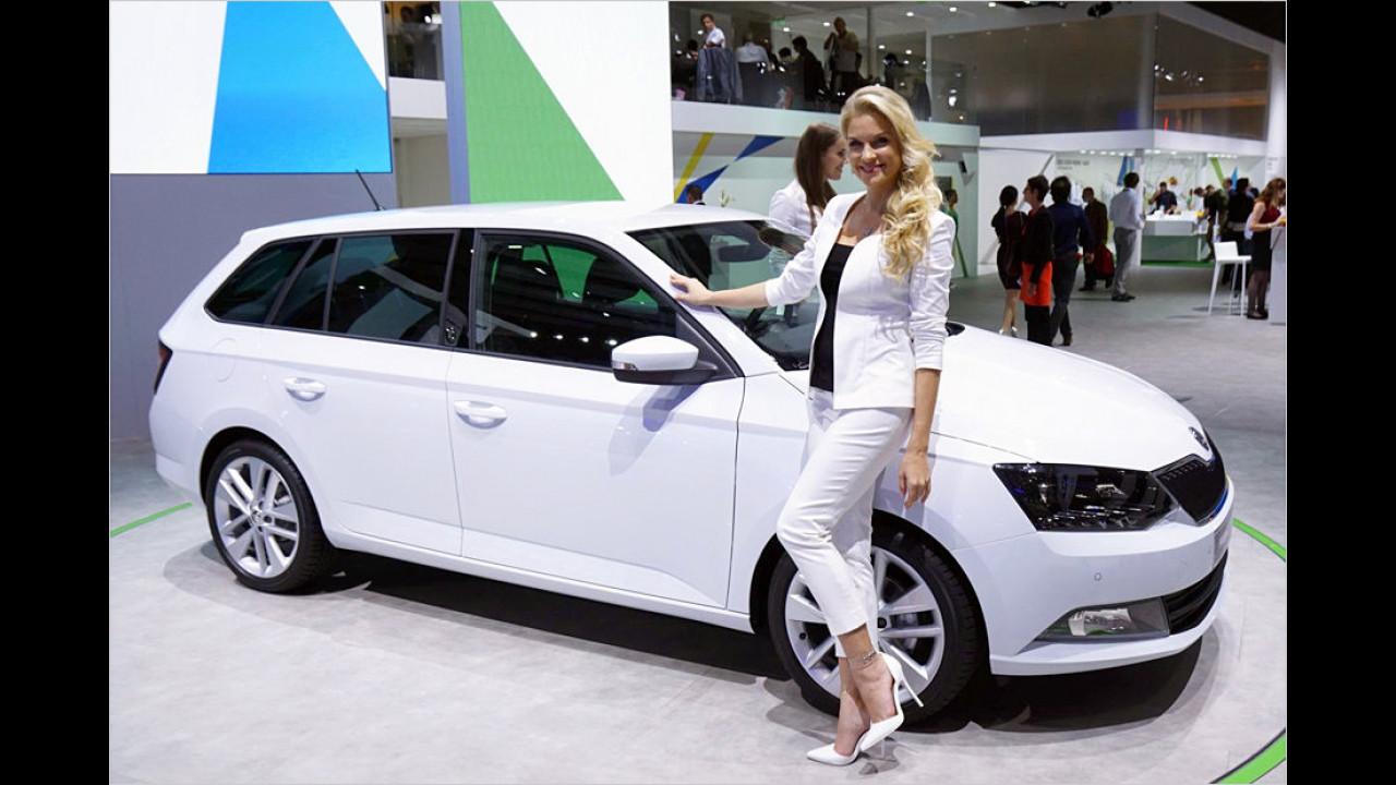 Ganz in Weiß: Der neue Skoda Fabia Kombi und eine glühende Verehrerin