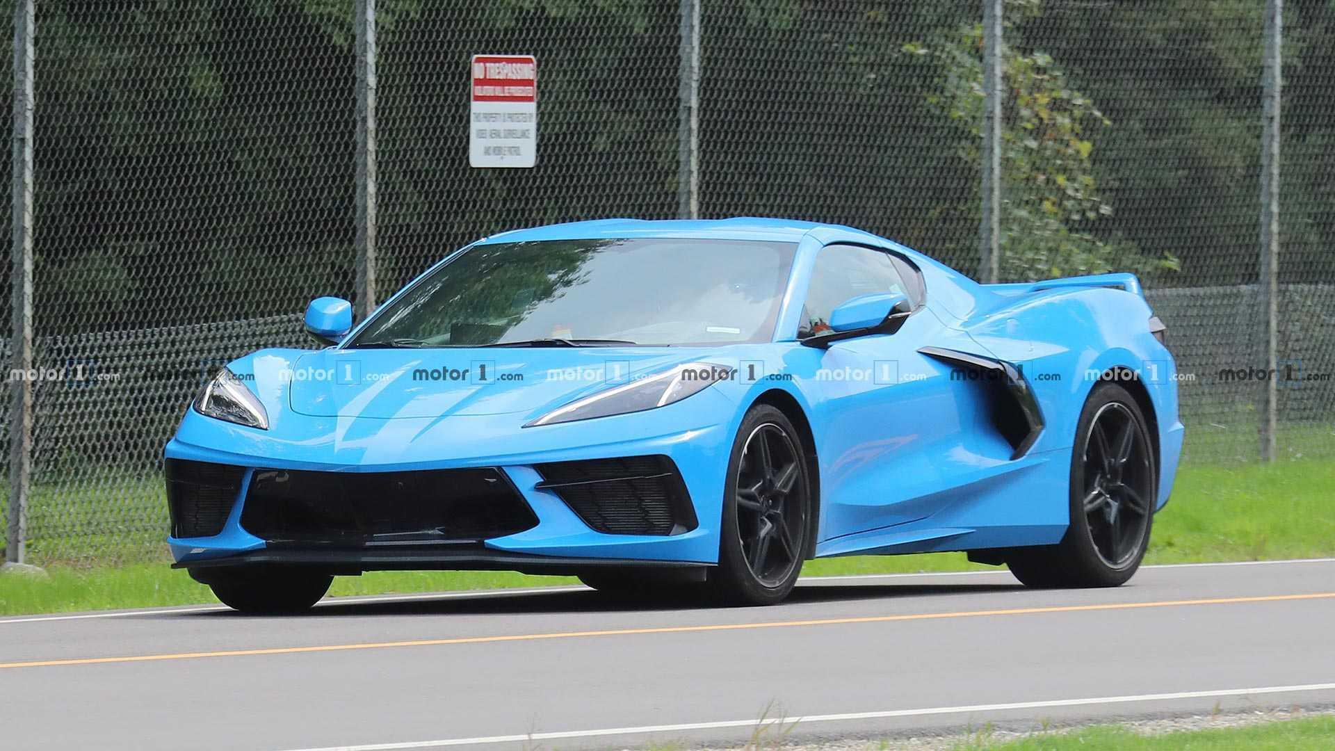 2020 Corvette Spied In Rapid Blue Better Watch Out For Gargamel