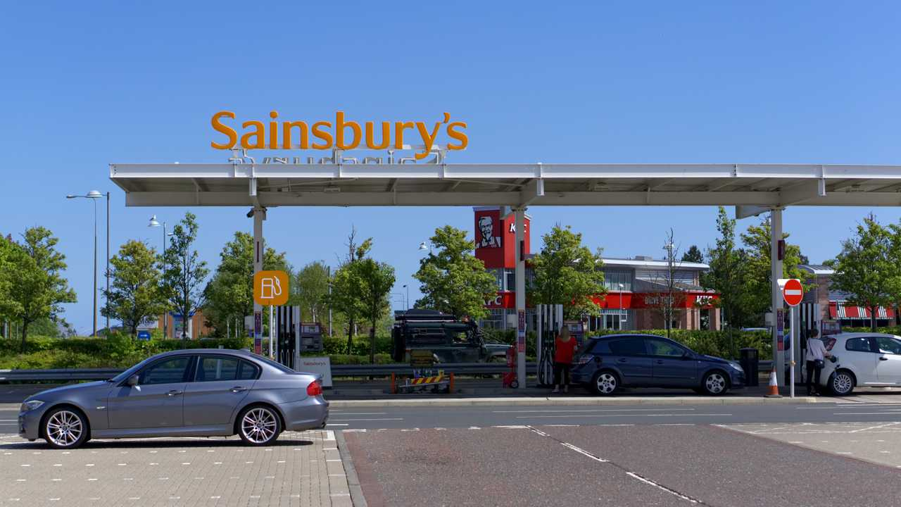 Sainsbury petrol station in Livingston Scotland