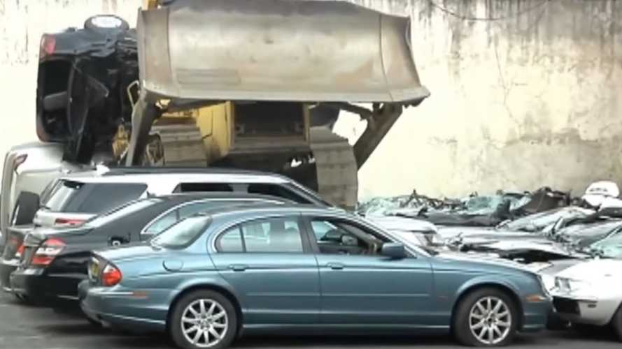 Video: Dozens Of High-End Cars Smashed From Smuggling Bust