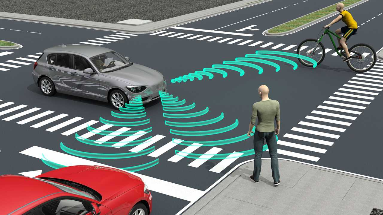 Self autonomous driving electronic car sensors illustration