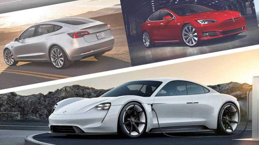 La Porsche Taycan se mesure aux Tesla Model S et Model 3