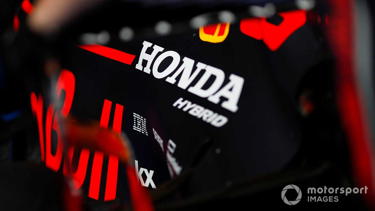 Honda logo on a Red Bull engine cover at Belgian GP 2019