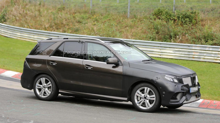 Mercedes-Benz M-Class facelift / GLE spied testing at the Nurburgring, likely a hybrid