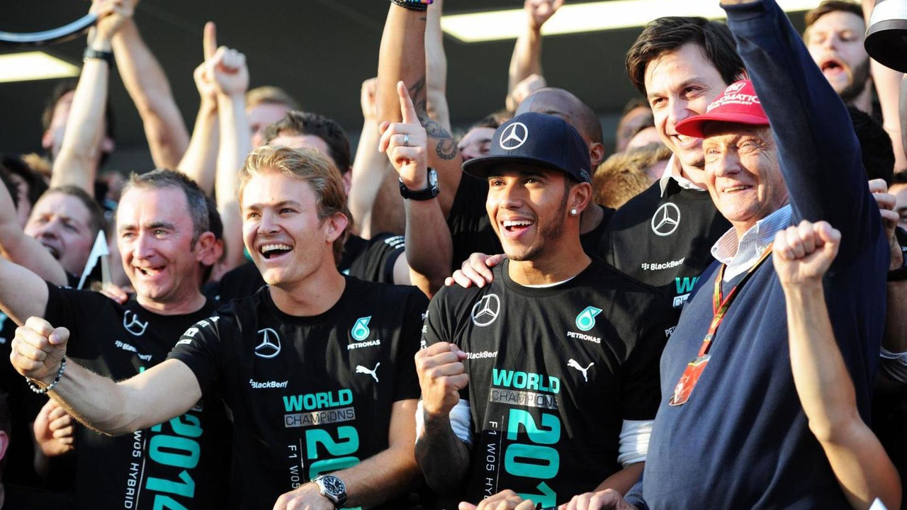 Mercedes team celebrate winning the 2014 Constructors Championship, 12.10.2014, Russian Grand Prix, Sochi Autodrom / XPB