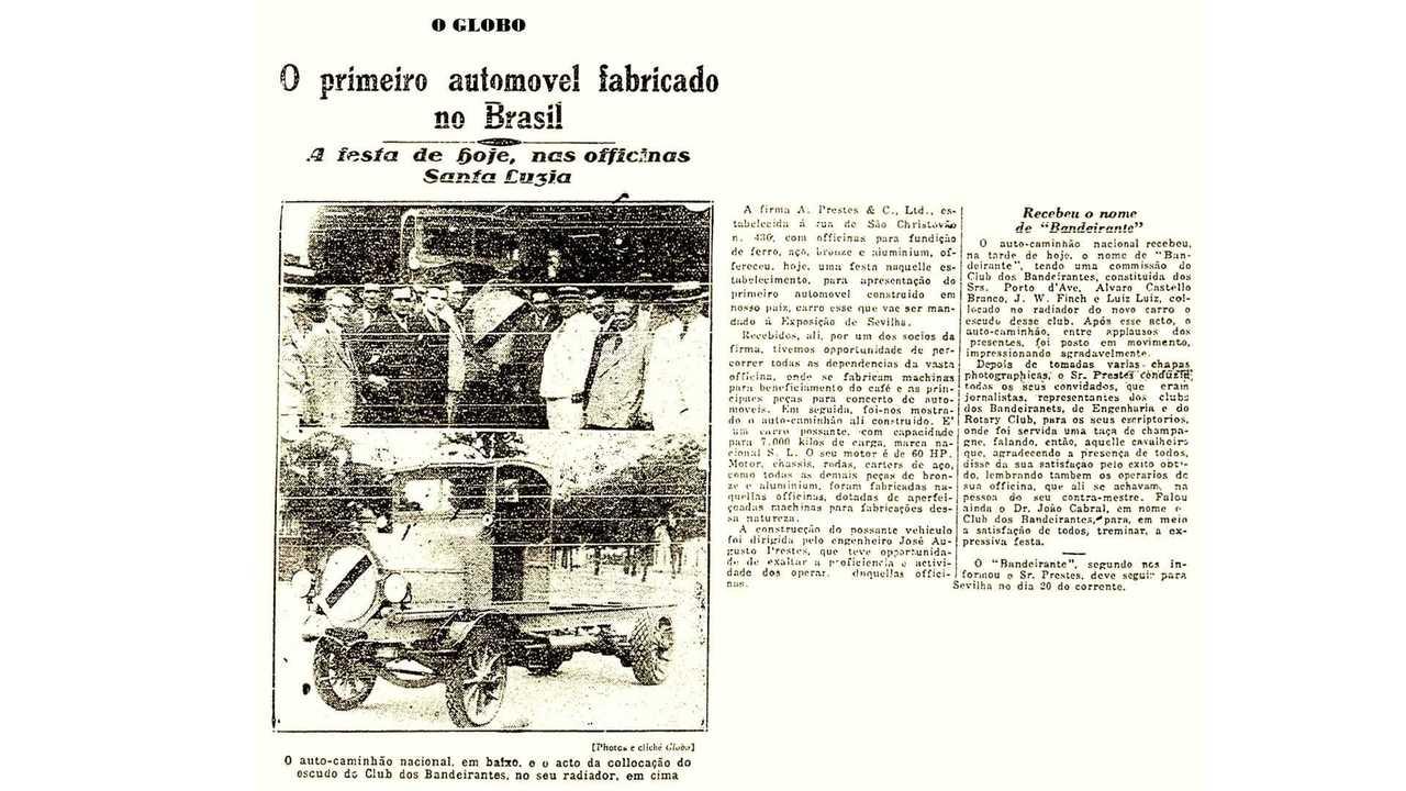 Jornal O Globo - O primeiro automóvel fabricado no Brasil