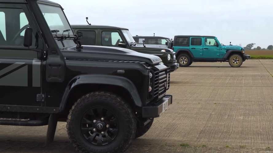 Jeep Wrangler Drag Races Mercedes G-Class And Two Defenders