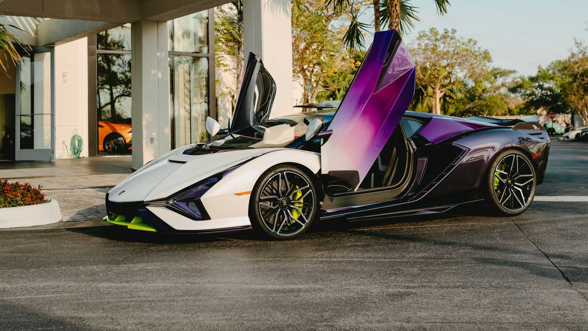 Lamborghini Sian In Purple, Green, And White Side View Low Angle Open Doors Photo By Juan Pablo Saenz