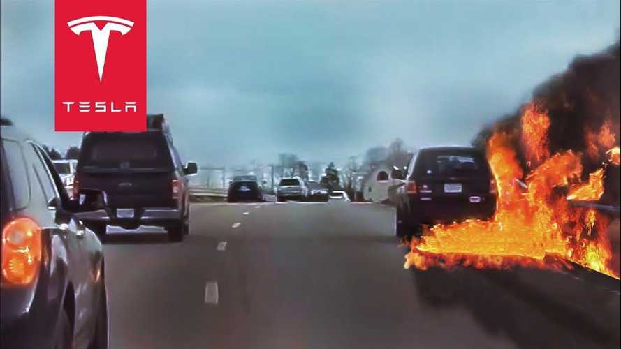 TeslaCam captures footage of petrol cars catching fire while driving