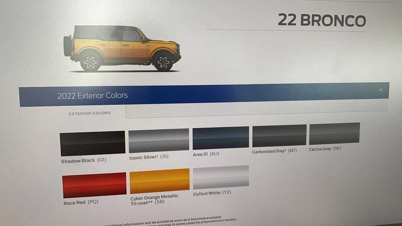 2022 Ford Bronco Colors
