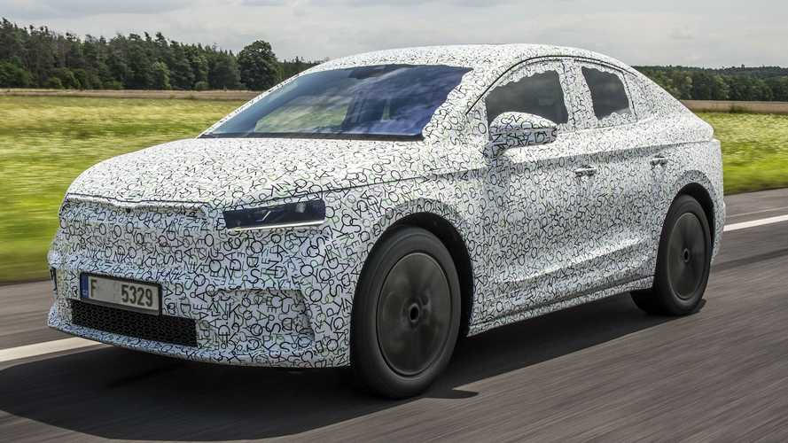Skoda Teases Enyaq Coupe iV In Tight-Fitting Camouflage Wrap