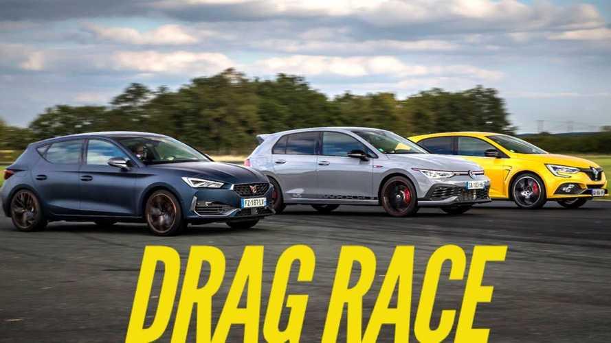 VW Golf GTI 45 meets Megane Trophy and Leon Cupra in drag race