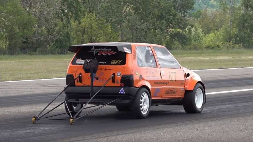Fiat Uno, il video del dragster da 700 cavalli