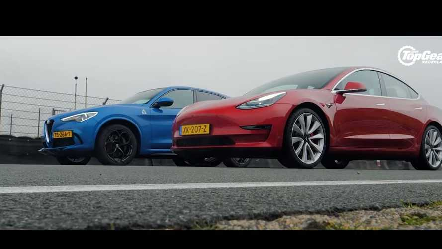 Watch Tesla Model 3 Vs Alfa Romeo Stelvio Quadrifoglio