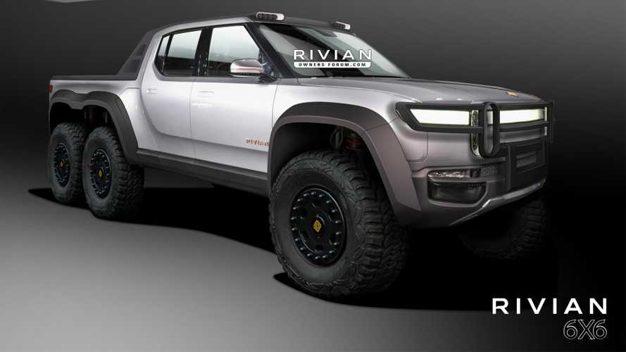 Rivian R1T Rendered As High-Riding, 6-Wheeled Off-Road-Ready Rig