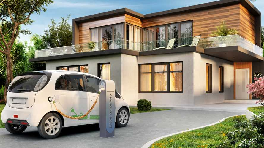 Modern house with electric car charging illustration rendering
