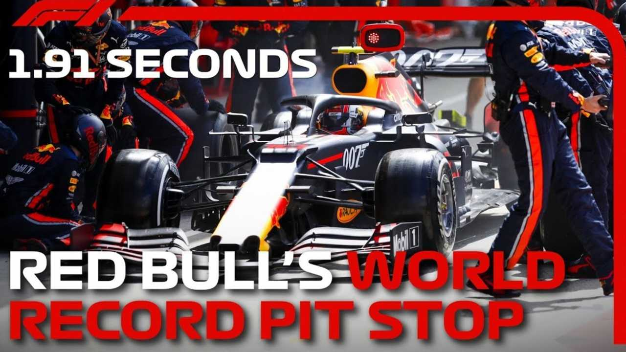 watch red bull set record f1 pit stop in just 1 91 seconds