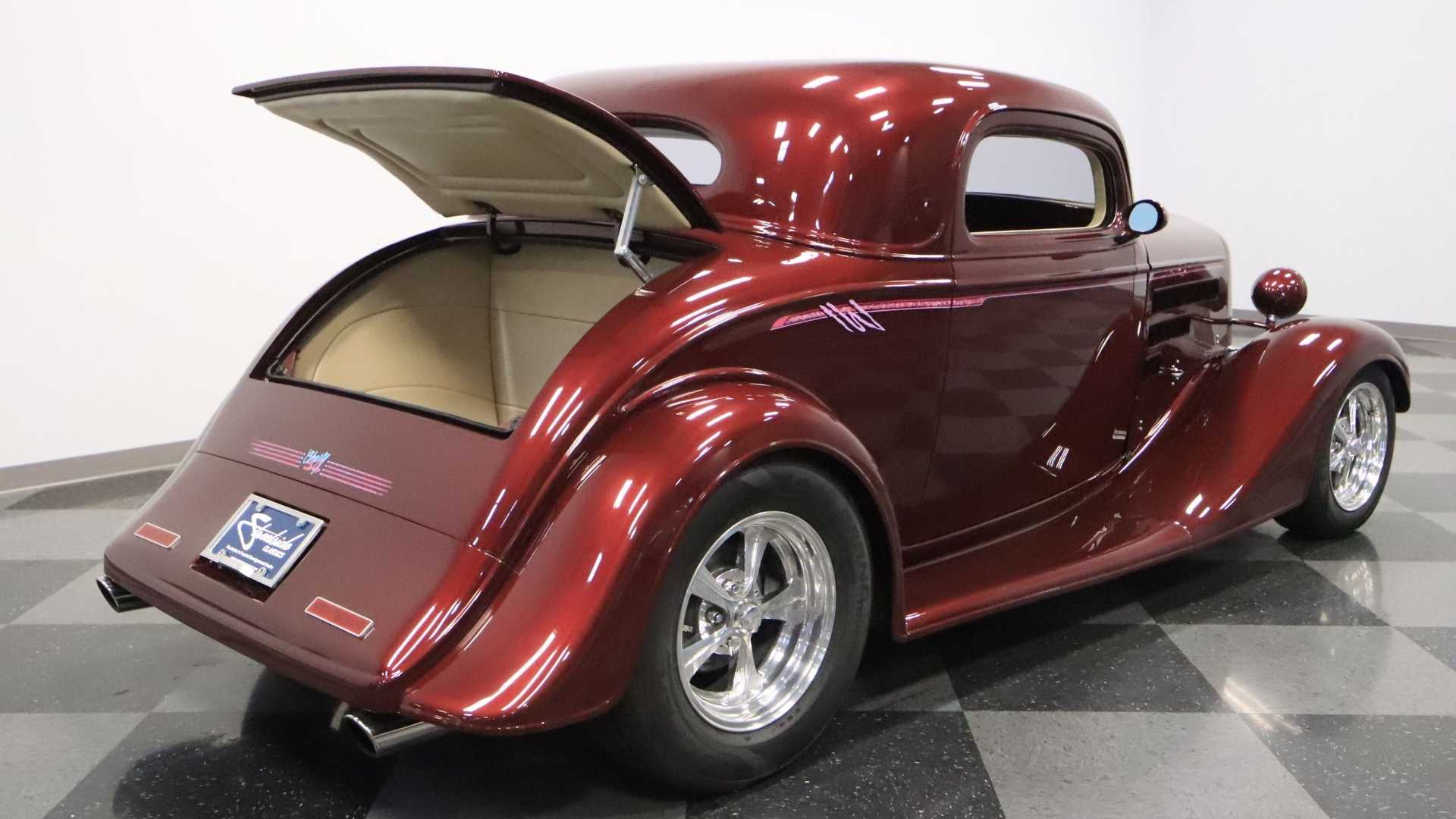 "[""Maroon 1934 Chevrolet 3-Window Coupe Is Elegantly Aggressive""]"