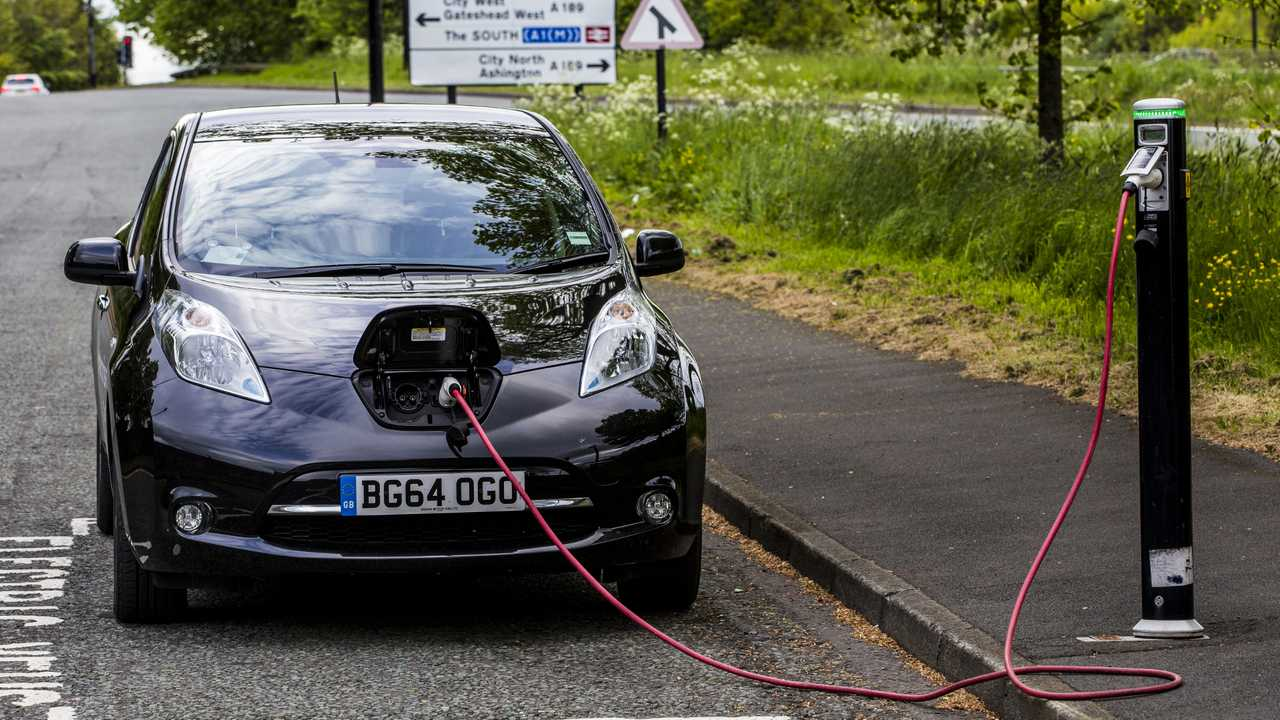 Electric Nissan Leaf charging in Newcastle Upon Tyne UK