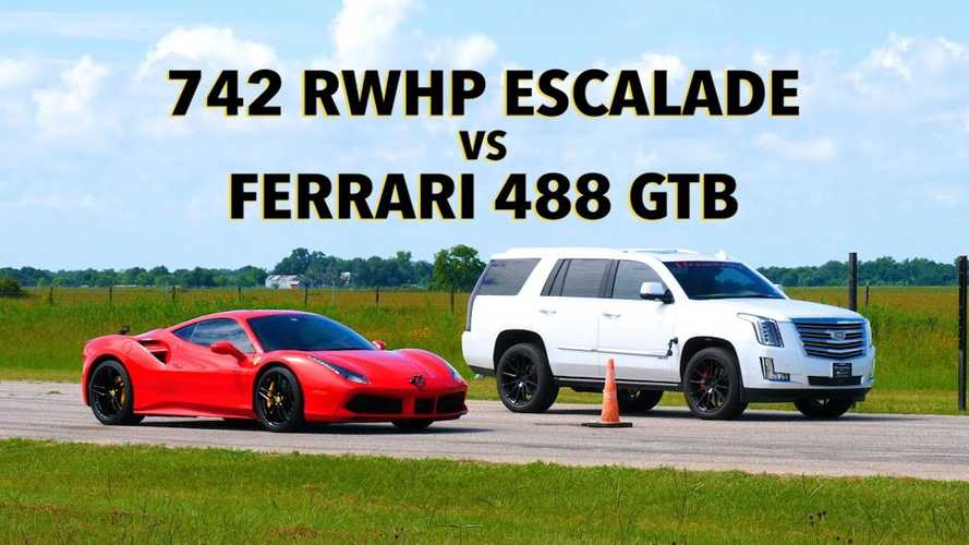 Watch Hennessey HPE800 Escalade Drag Race A Ferrari 488 GTB