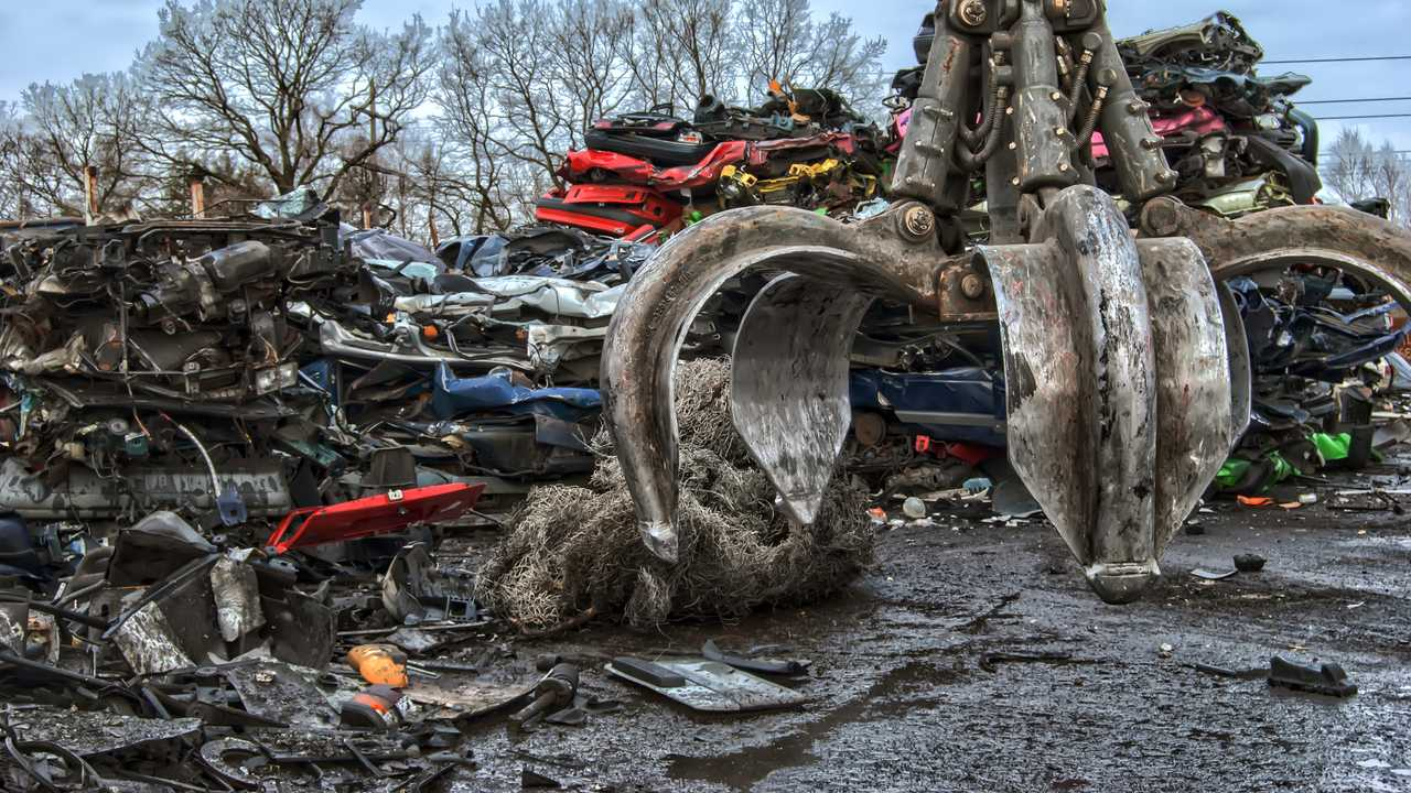 Old metal in scrapyard