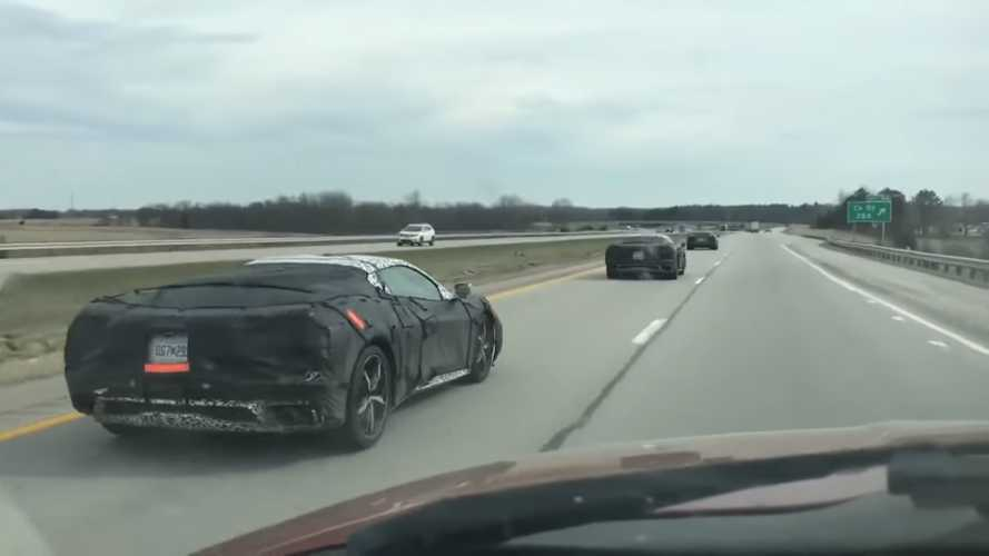 Mid-Engined C8 Corvette Fleet Spied On The Highway Headed North
