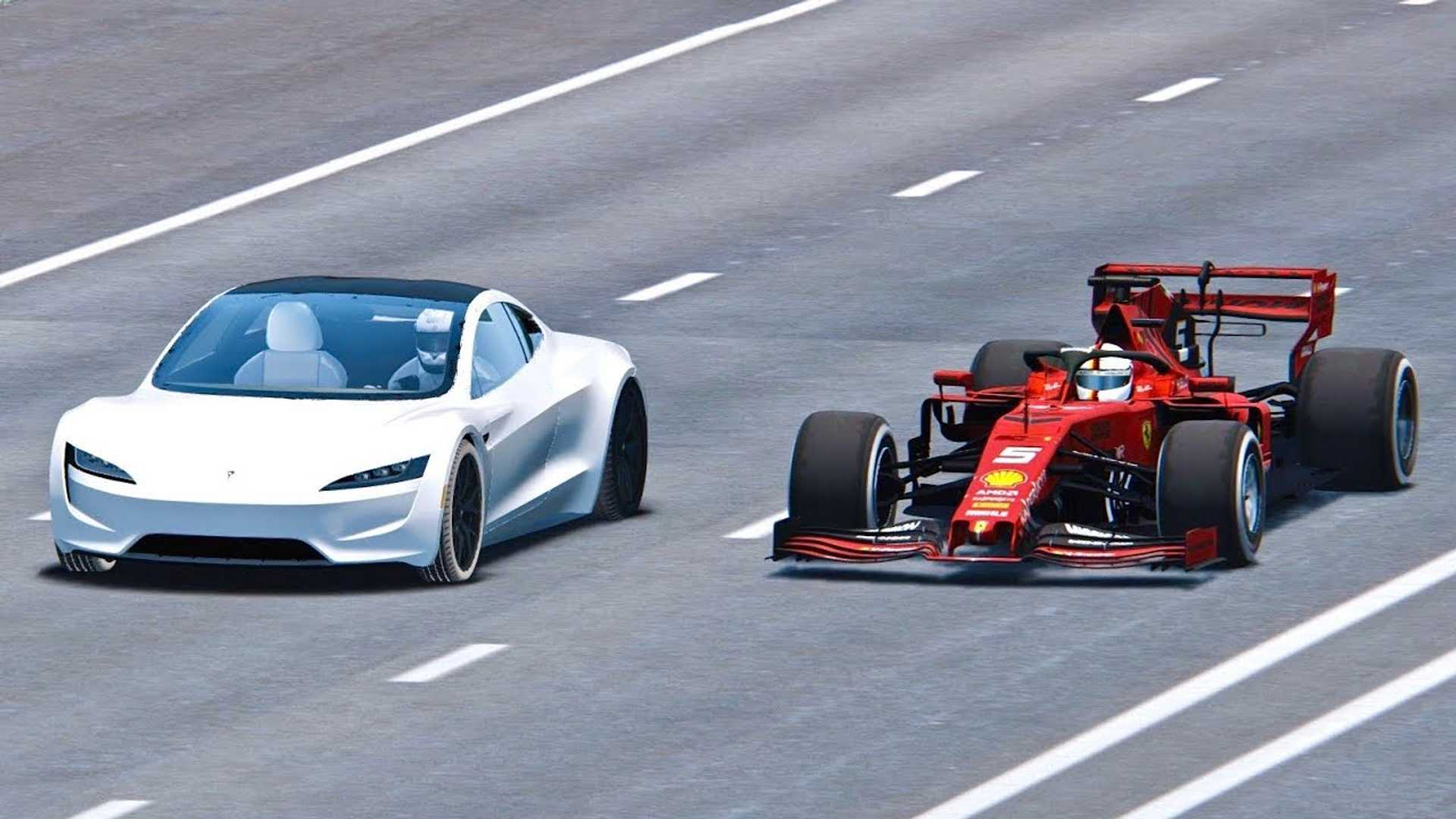 Watch Tesla Roadster Race Ferrari Formula 1 Car: Simulated Video