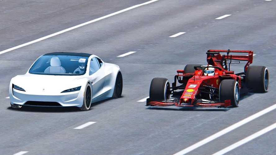 Watch Tesla Roadster Race Ferrari Formula 1 Car:  Simulated Video
