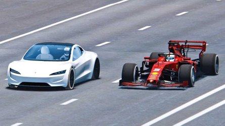 Watch Tesla Roadster Race Ferrari Formula 1 Car Simulated Video