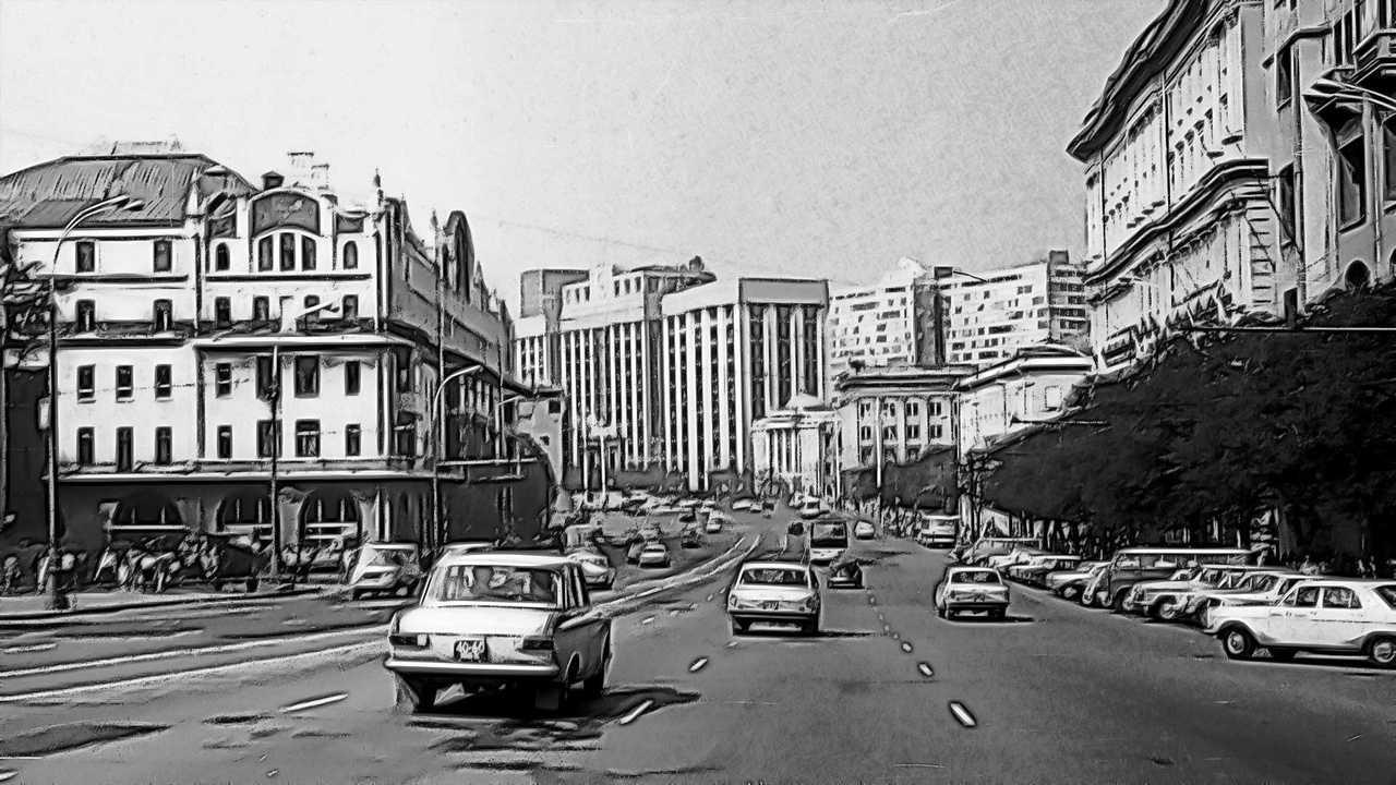 Дорожное движение в Москве времен СССР