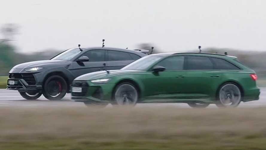 Lamborghini Urus vs Audi RS6 Avant wet drag race ends in photo finish