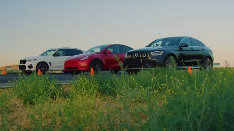 Tesla Model Y Vs BMW X3 M & AMG GLC 63 Luxury Compact SUV Drag Race