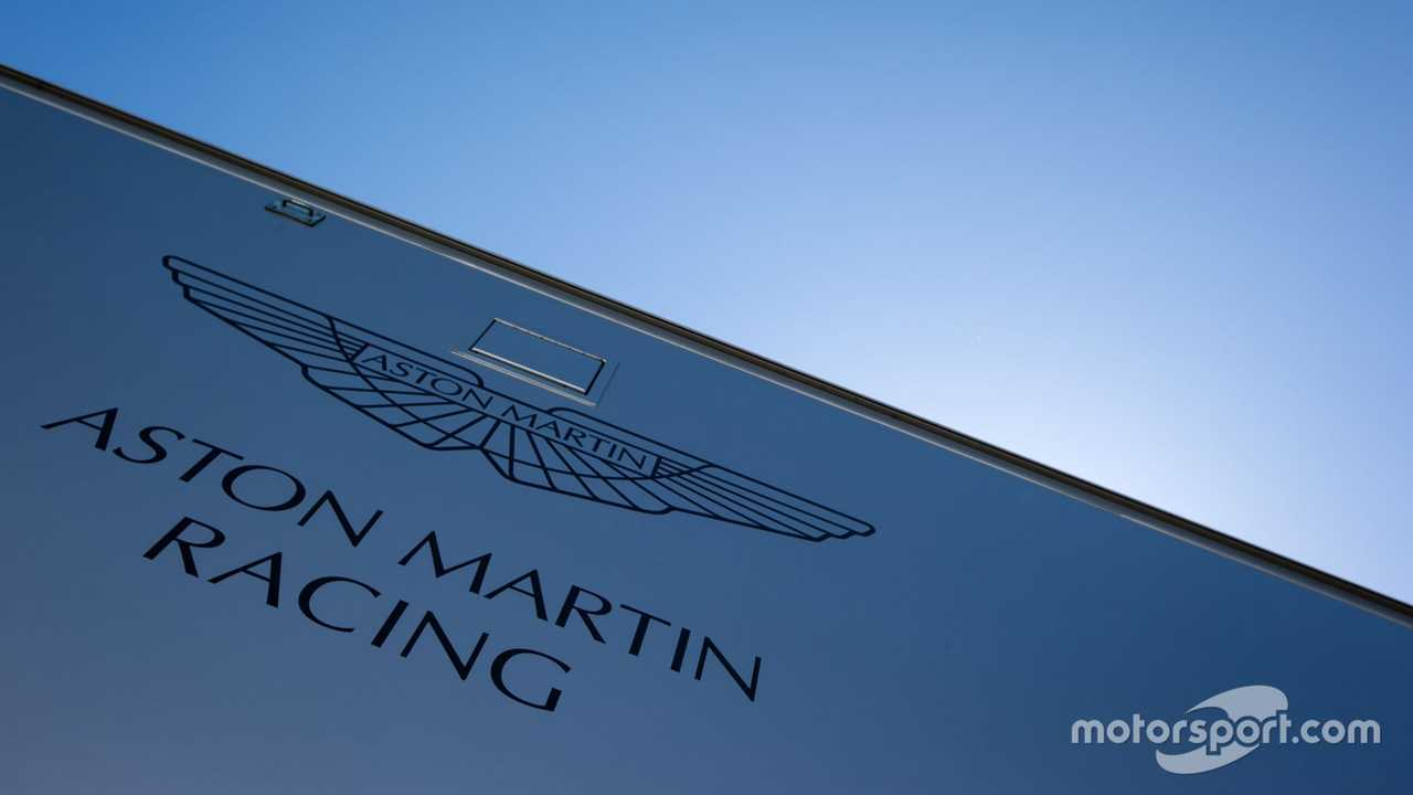 Aston Martin Racing transporter and logo at 24 Hours of Le Mans 2015