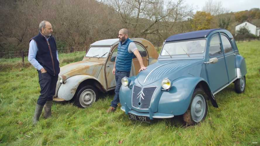 Chris Harris has fun in an all Citroen 2CV drag race on grass