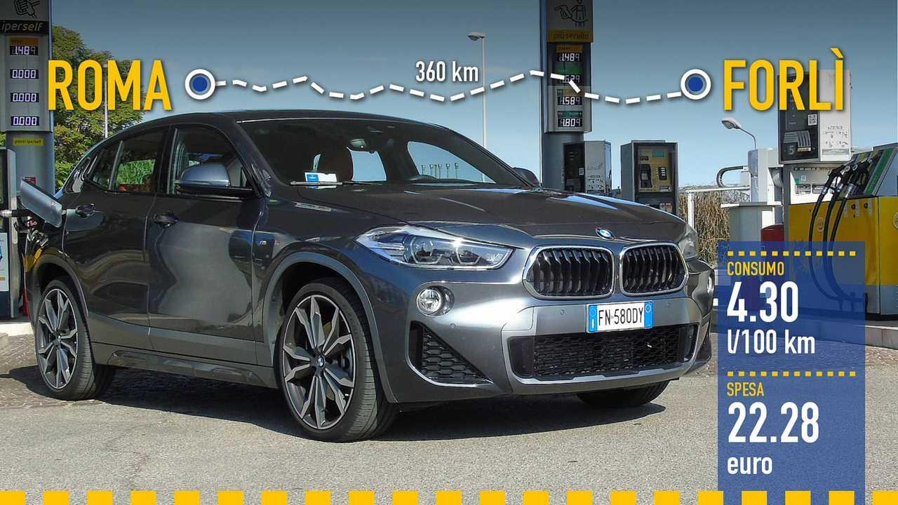 BMW X2 xDrive 25d, la prova consumi