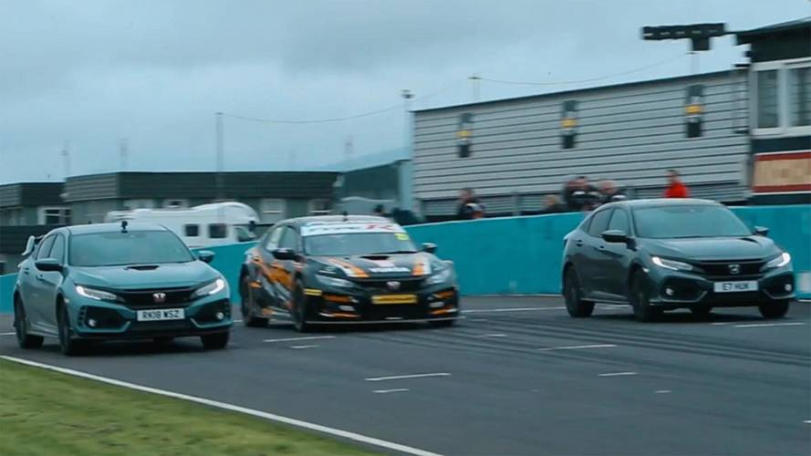 Honda Civic Race Car Challenges Type R And Sport On The Track