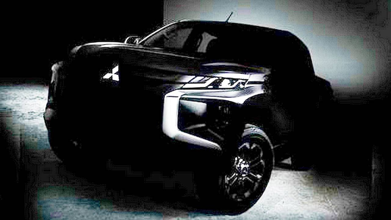 new mitsubishi l200 pickup truck teased in shadowy photo
