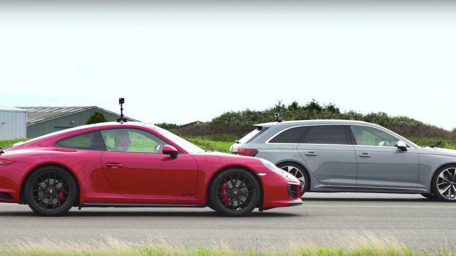 Audi RS4 Avant'ın Porsche 911 GTS ile drag yarışını izleyin
