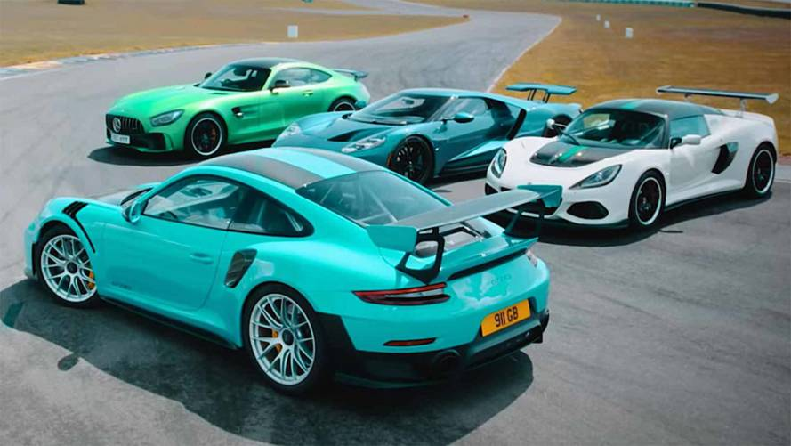 Ford GT, 911 GT2 RS, AMG GT R, And Exige Cup Duke It Out On Track