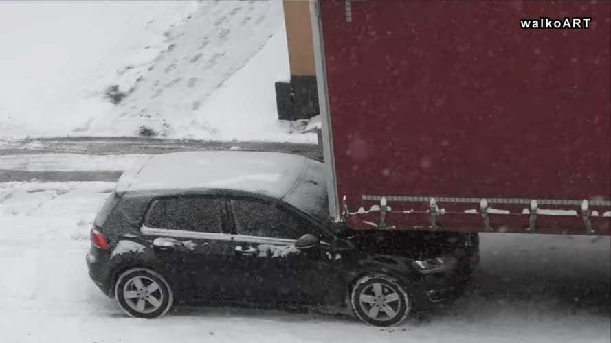 VW Golf Parked Underneath Semi Trailer Has Us Scratching Our Heads