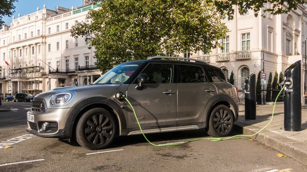 Mini recharging in Belgrave Square London UK