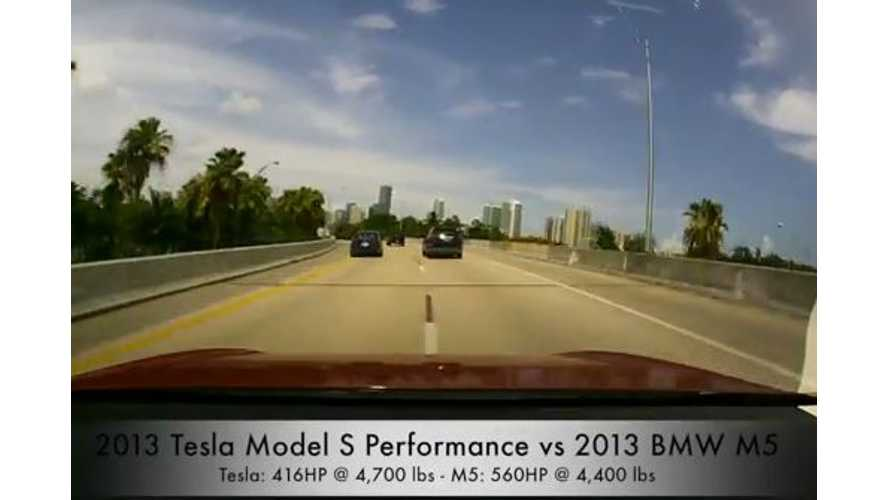 Video: 2013 Tesla Model S Performance Tries to Catch a 2013 BMW M5 Twin Turbo