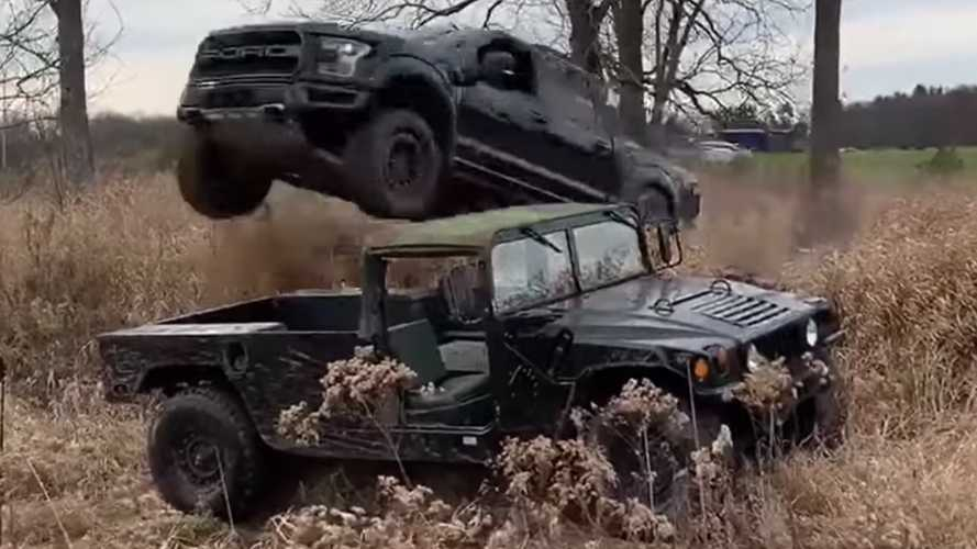 Watch A Ford F-150 Raptor Jump Over A Hummer For YouTube Clicks