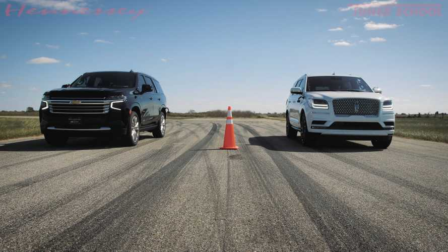 Hennessey Drag Races Hot Rod Lincoln Navigator With Stock Chevy Tahoe