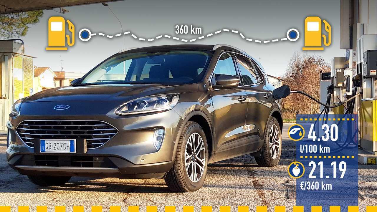 Ford Kuga diesel mild hybrid, la prova consumi