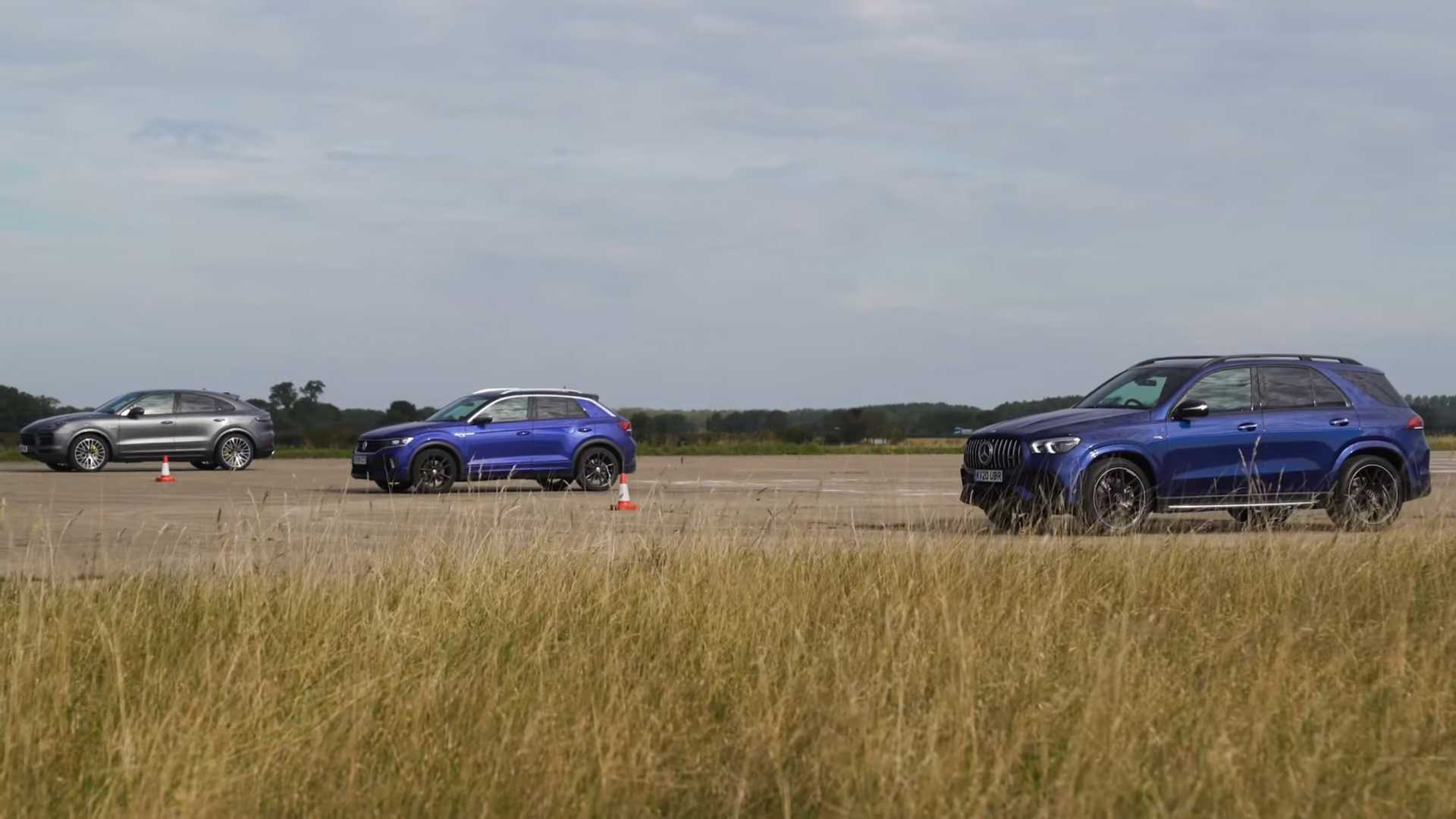 VW T-Roc R Surprises Against Porsche Cayenne, AMG GLE 53 In Drag Race
